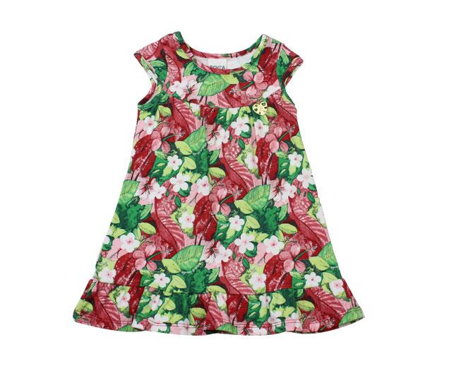 Vestido Vermelho Florido Boca Grande