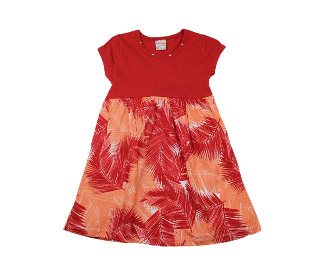 Vestido Vermelho / Laranja com Folhas de Coqueiro Brandili