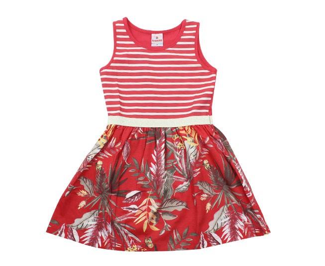 Vestido Vermelho Listrado com Flores Brandili