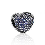 Berloque Coração Azul Brilhante