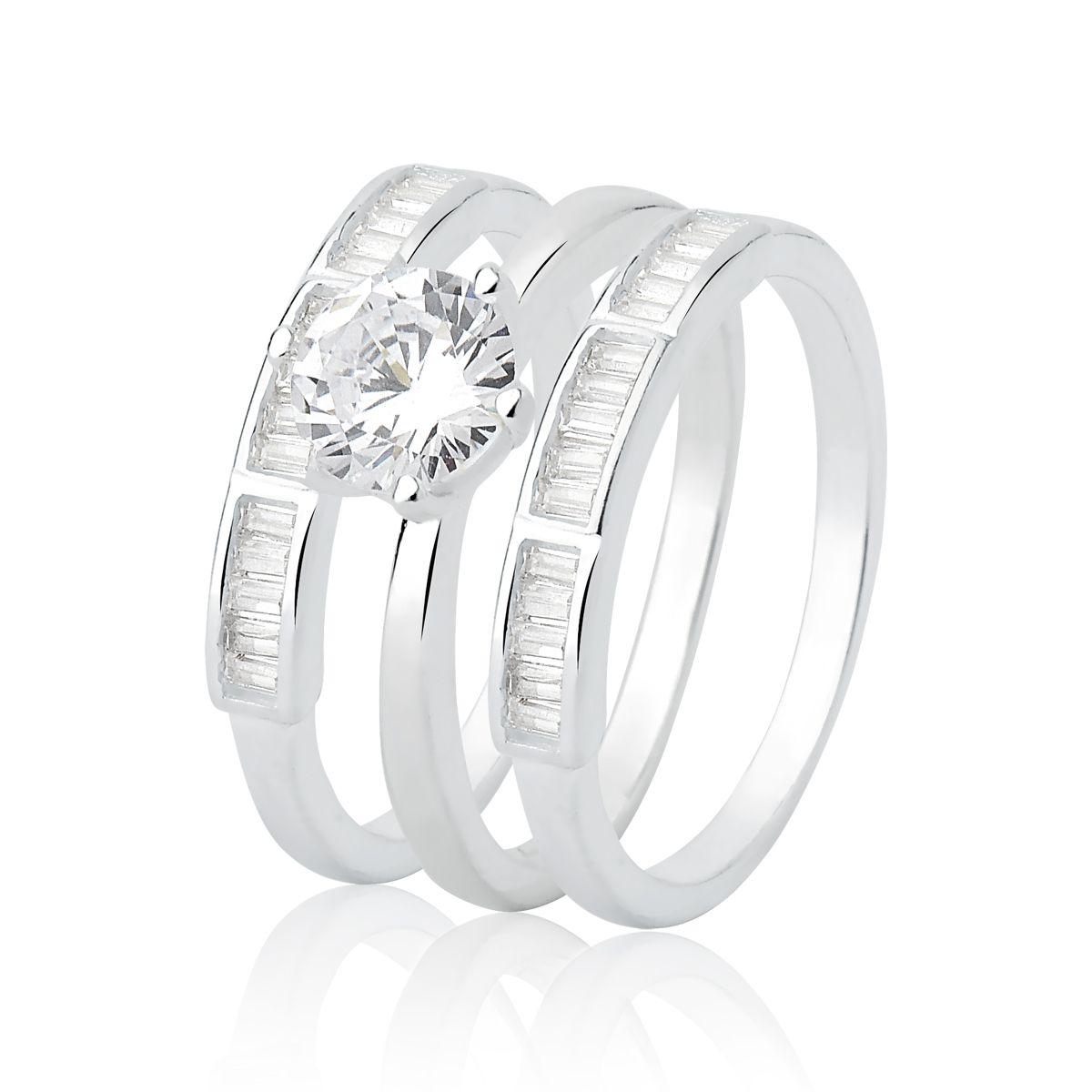 Kit Três Anéis Brilhantes