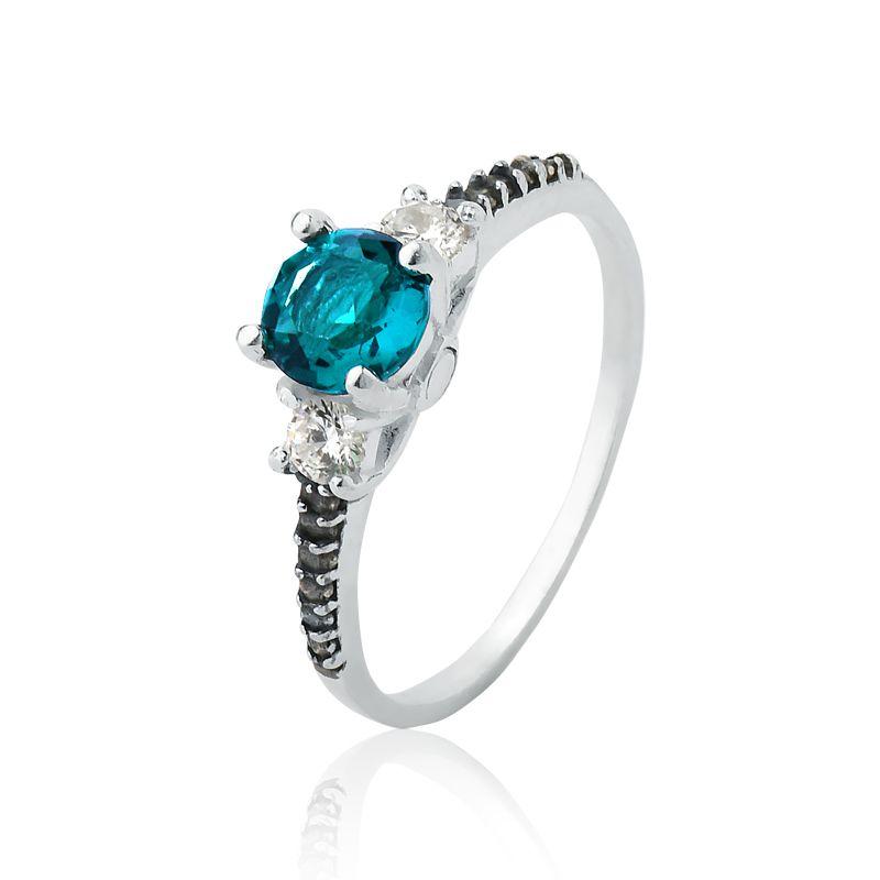 Anel Brilhante Azul Água