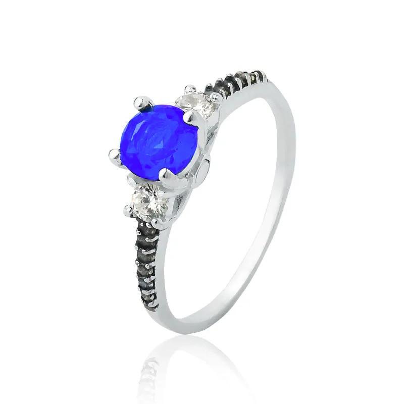 Anel Brilhante Azul Royal