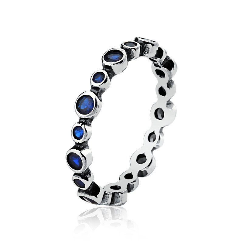 Anel Círculos de Zircônias Azul