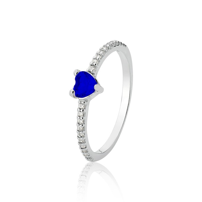 Anel Coração Azul Solitário Zircônia