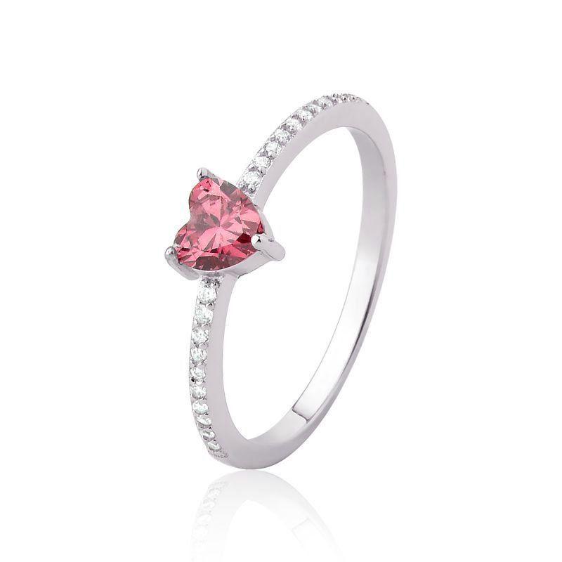 Anel Coração Encantado Pink G