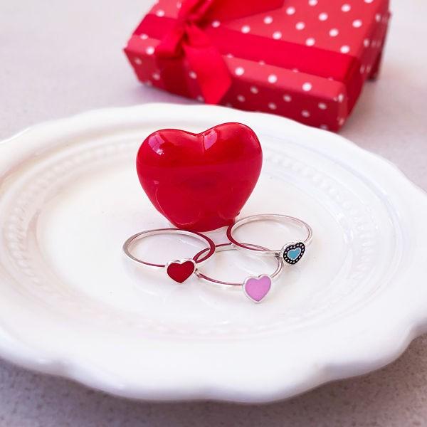 Anel Coração Rosa Resinado