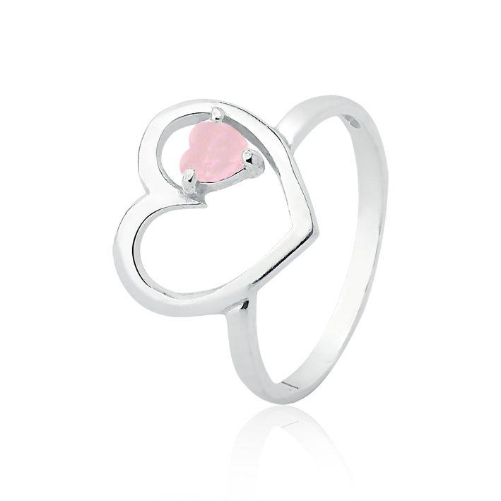 Anel Coração Zircônia Rosa