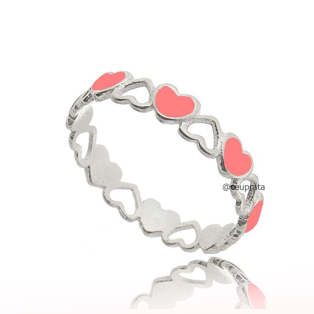 Anel Corações Fluorescente Rosa