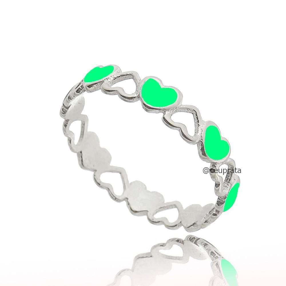 Anel Corações Fluorescente Verde