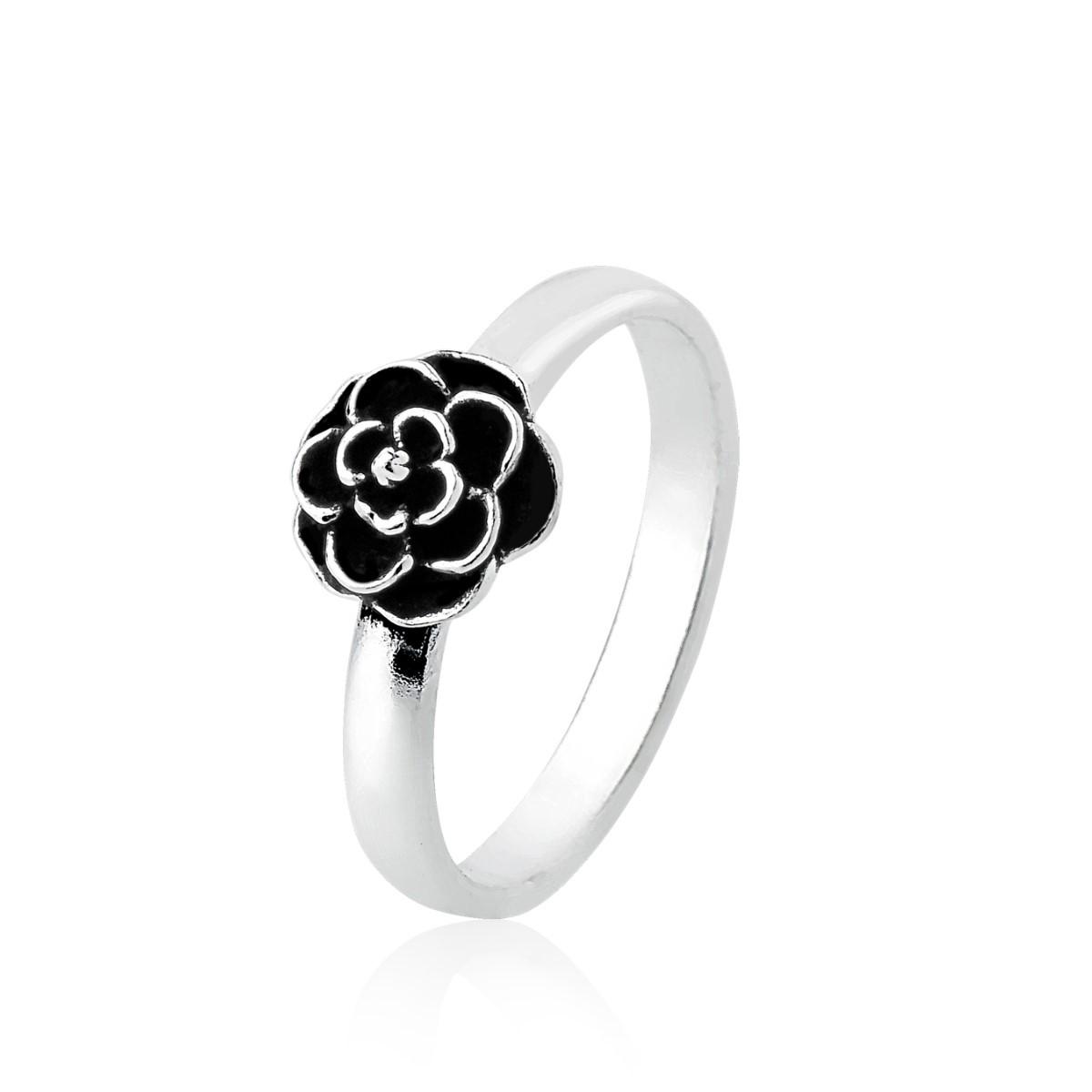 Anel Falange Flor Rosa Envelhecida