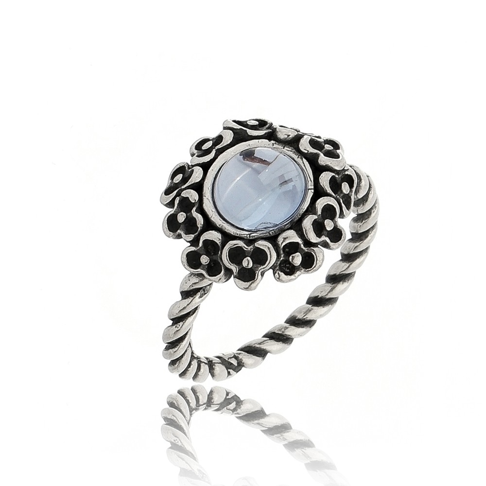 Anel Floral Cristal Azul Claro