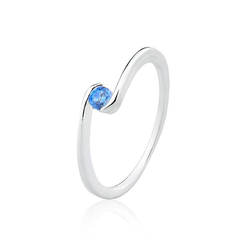 Anel Pedra Solitária Azul