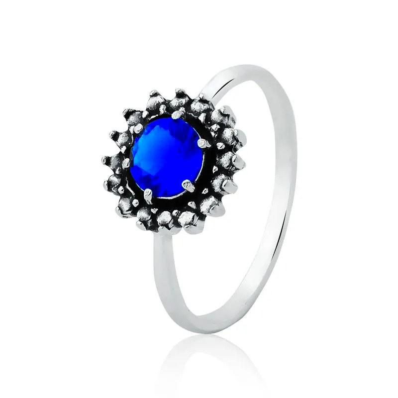Anel Solitário Azul Royal e Bolinhas