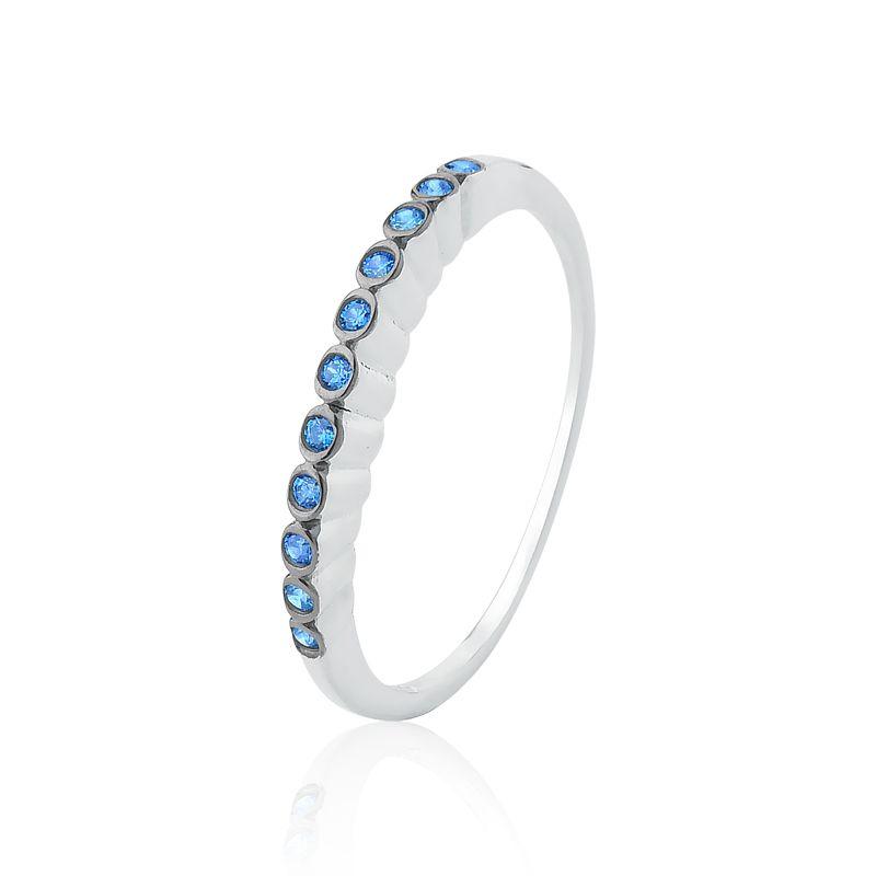 Anel Tiara Cravejada Azul