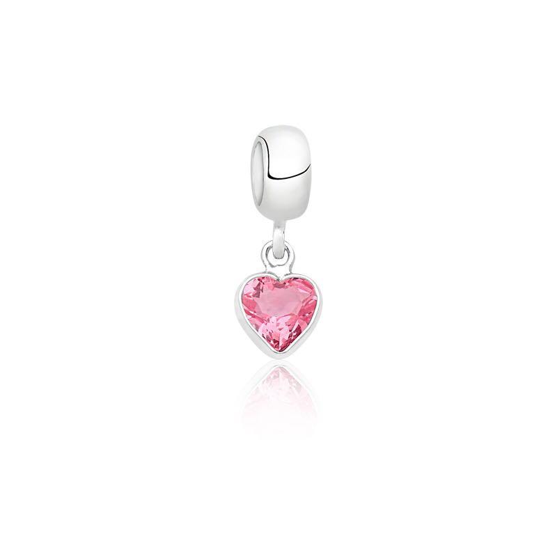 Berloque Coração Rosa Aniversário Outubro