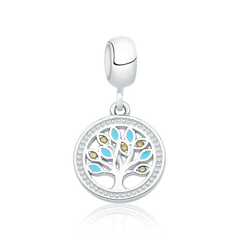 Berloque Árvore da Vida Azul Com Zircônias