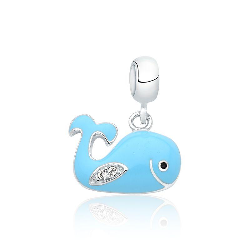 Berloque Baleia Azul Zircônia