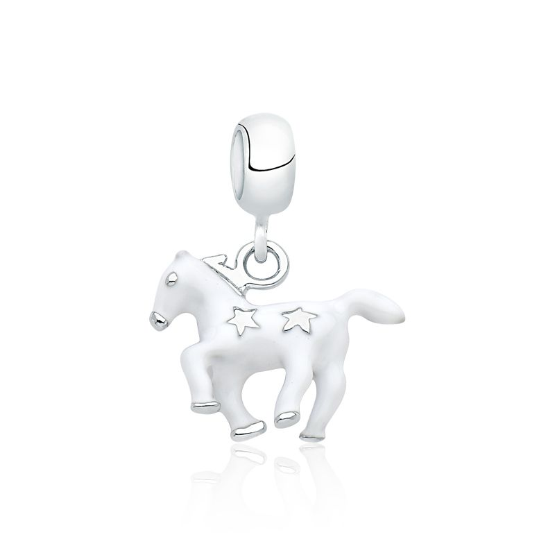 Berloque Cavalo Branco Estrelado