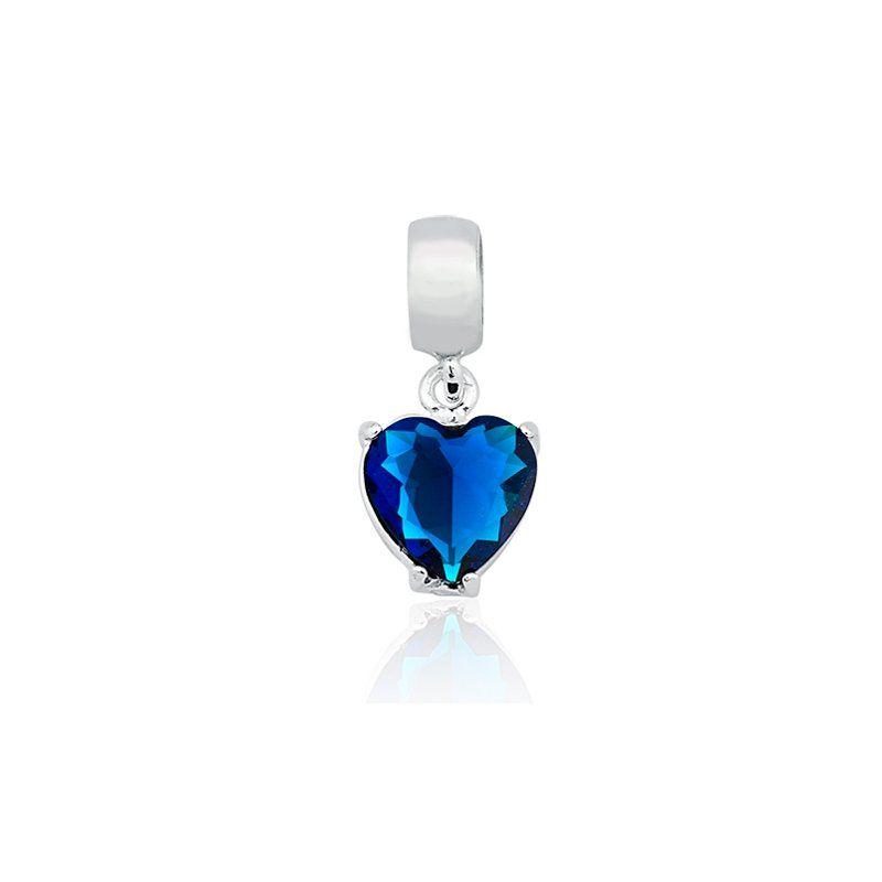 Berloque Coração Azul Escuro 8 MM