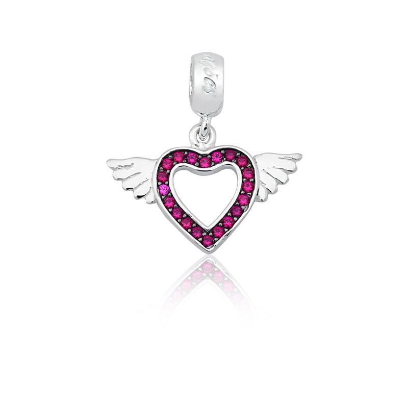 Berloque Coração Alado Com Zircônia Rosa