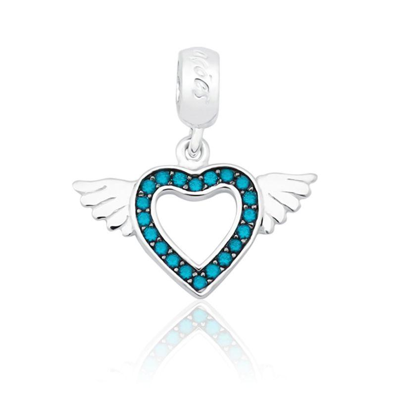Berloque Coração Alado Com Zircônia Azul