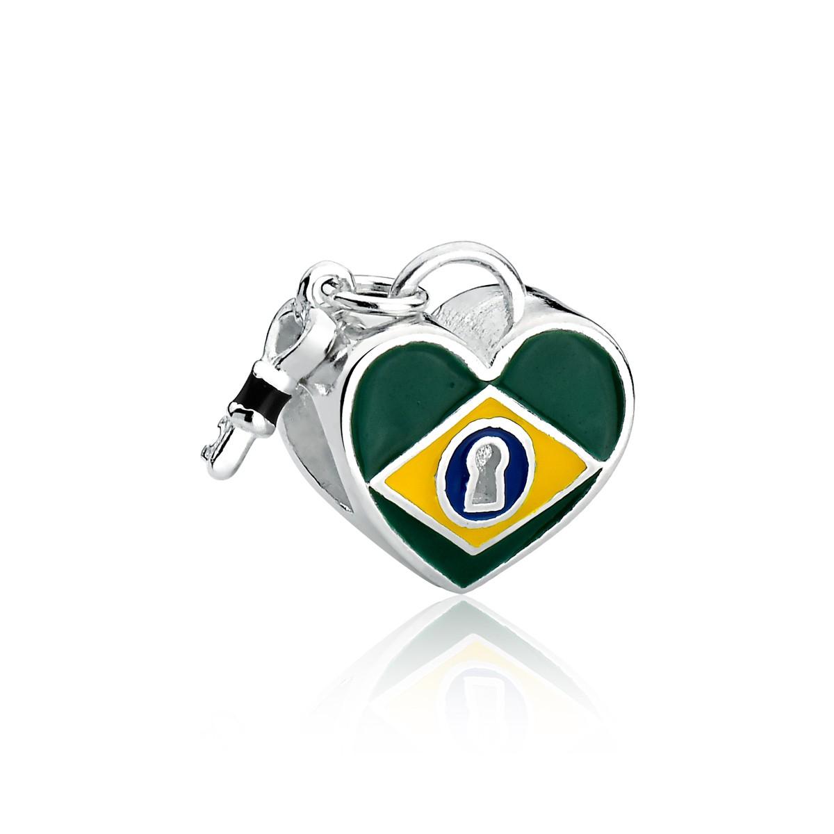 Berloque Coração Bandeira Brasil