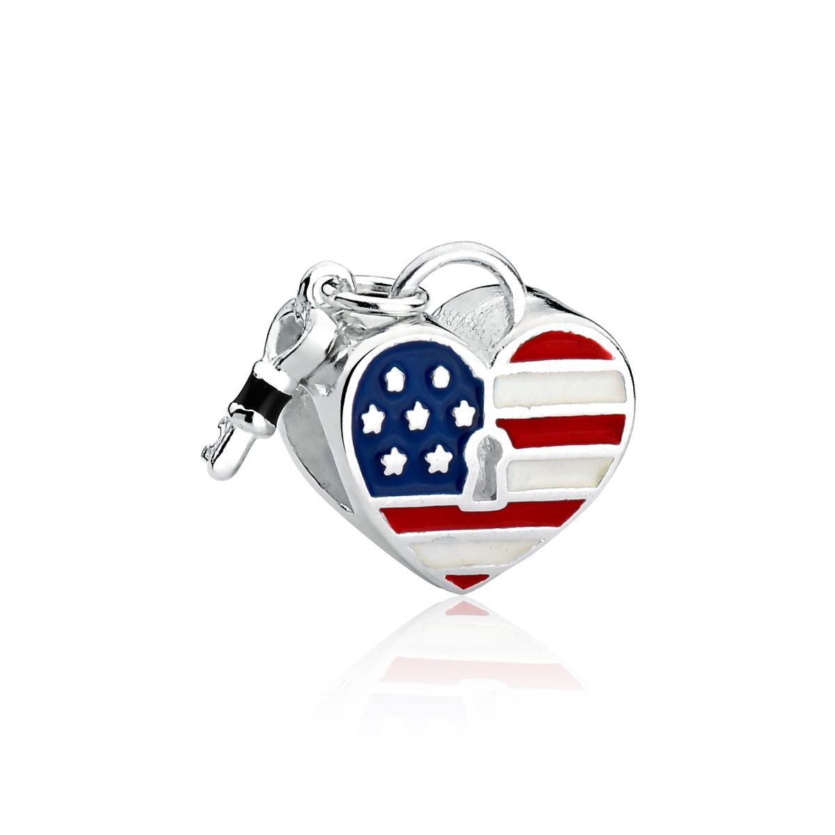 Berloque Coração Bandeira Estados Unidos EUA