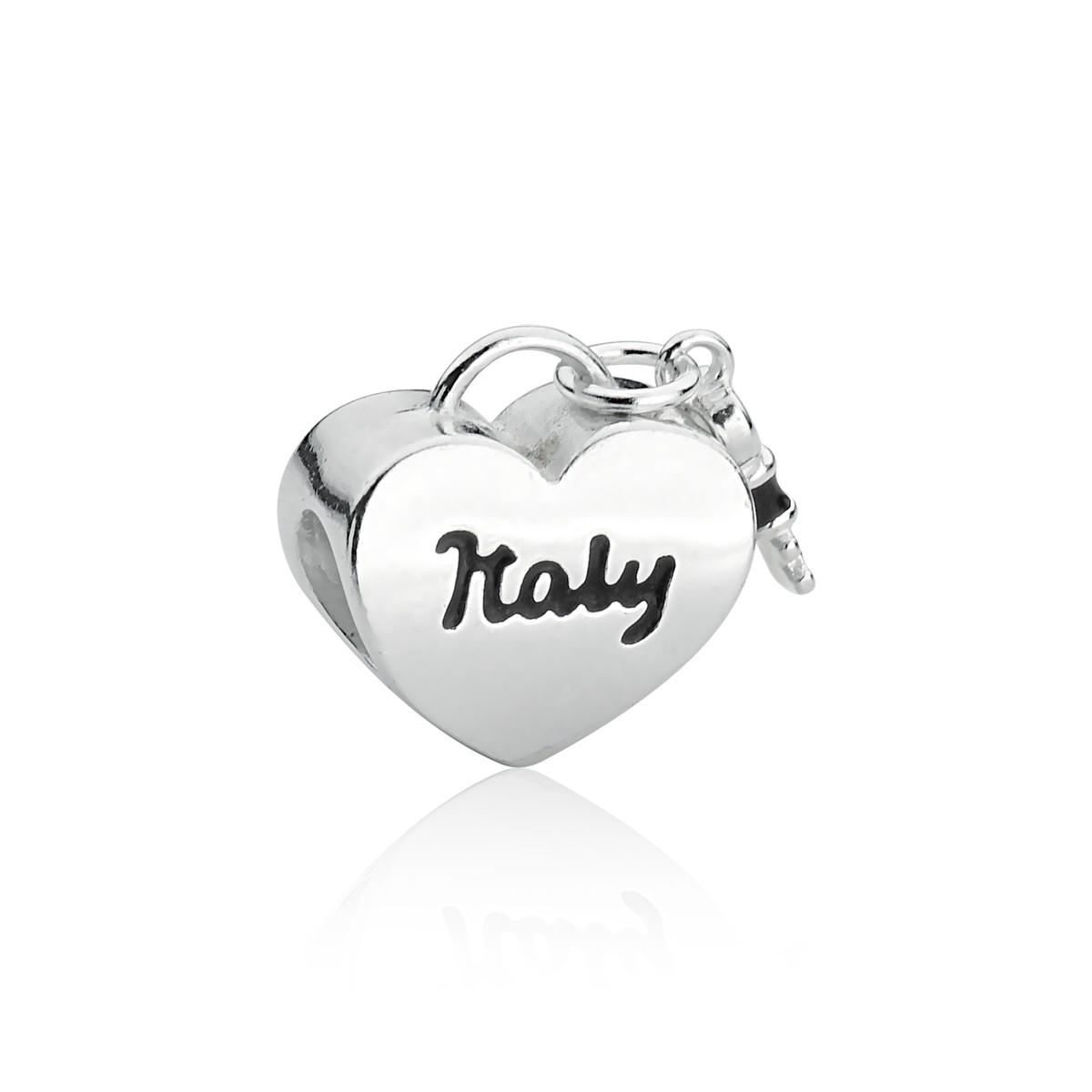 Berloque Coração Bandeira Itália
