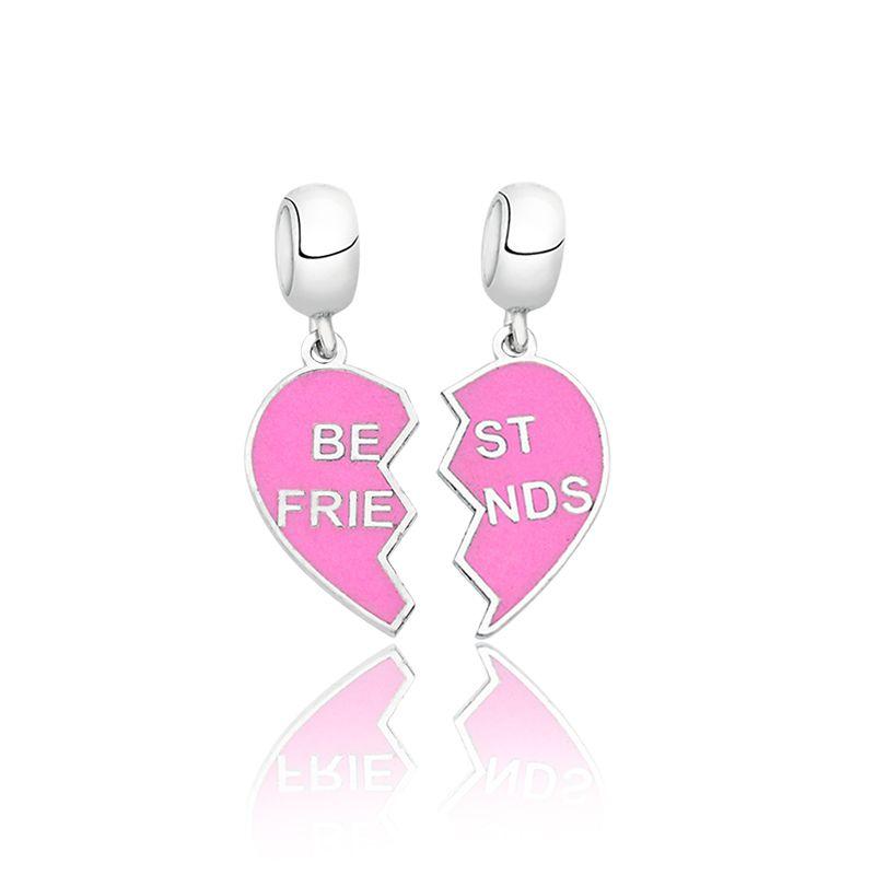 Berloque Coração Best Friends Rosa