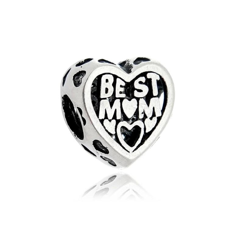 Berloque Coração Best Mom - Melhor Mãe