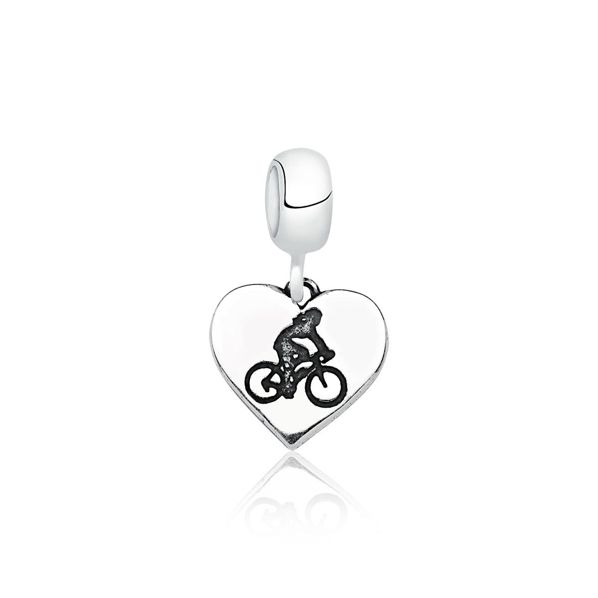 Berloque Coração Ciclista