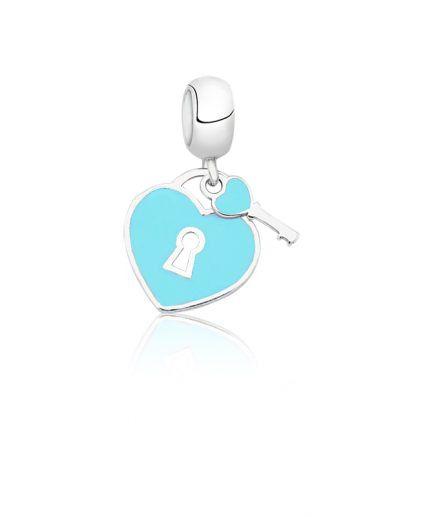 Berloque Coração com Chave Turquesa