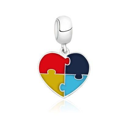 Berloque Coração com Símbolo do Autismo
