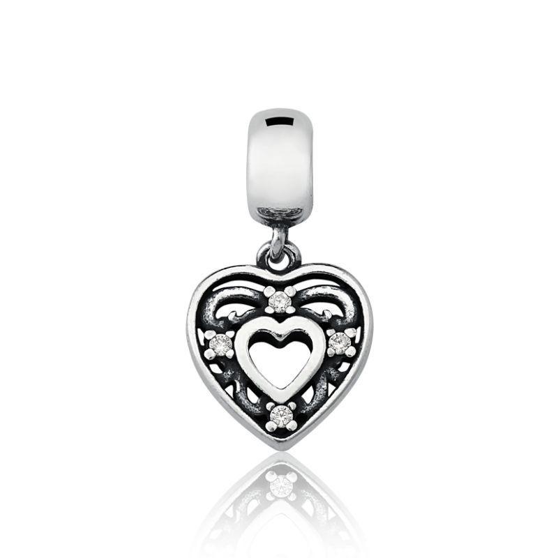 Berloque Coração Com Zircônia Branca