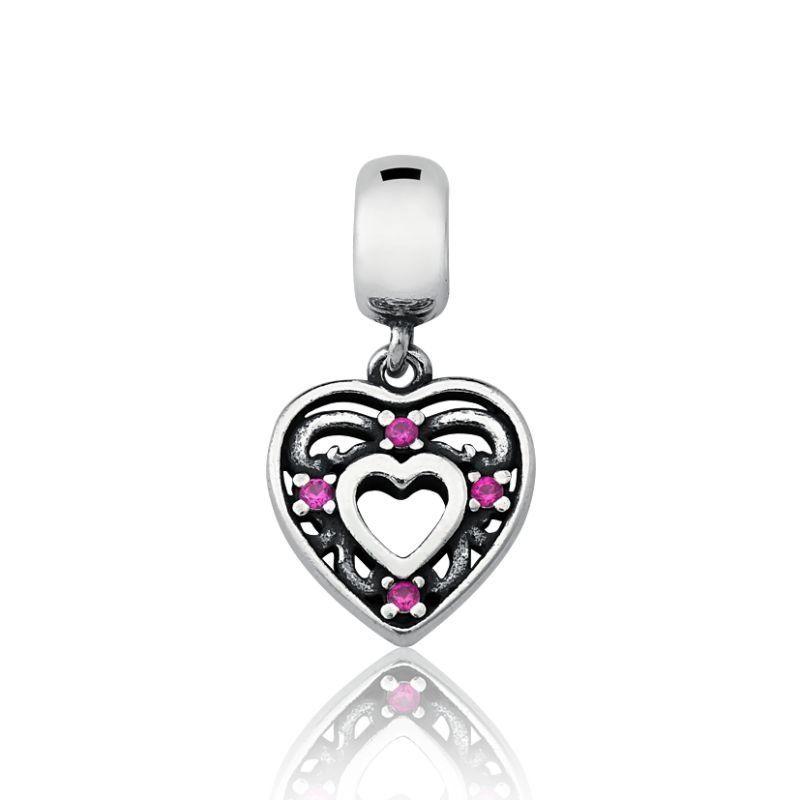 Berloque Coração Com Zircônia Rosa