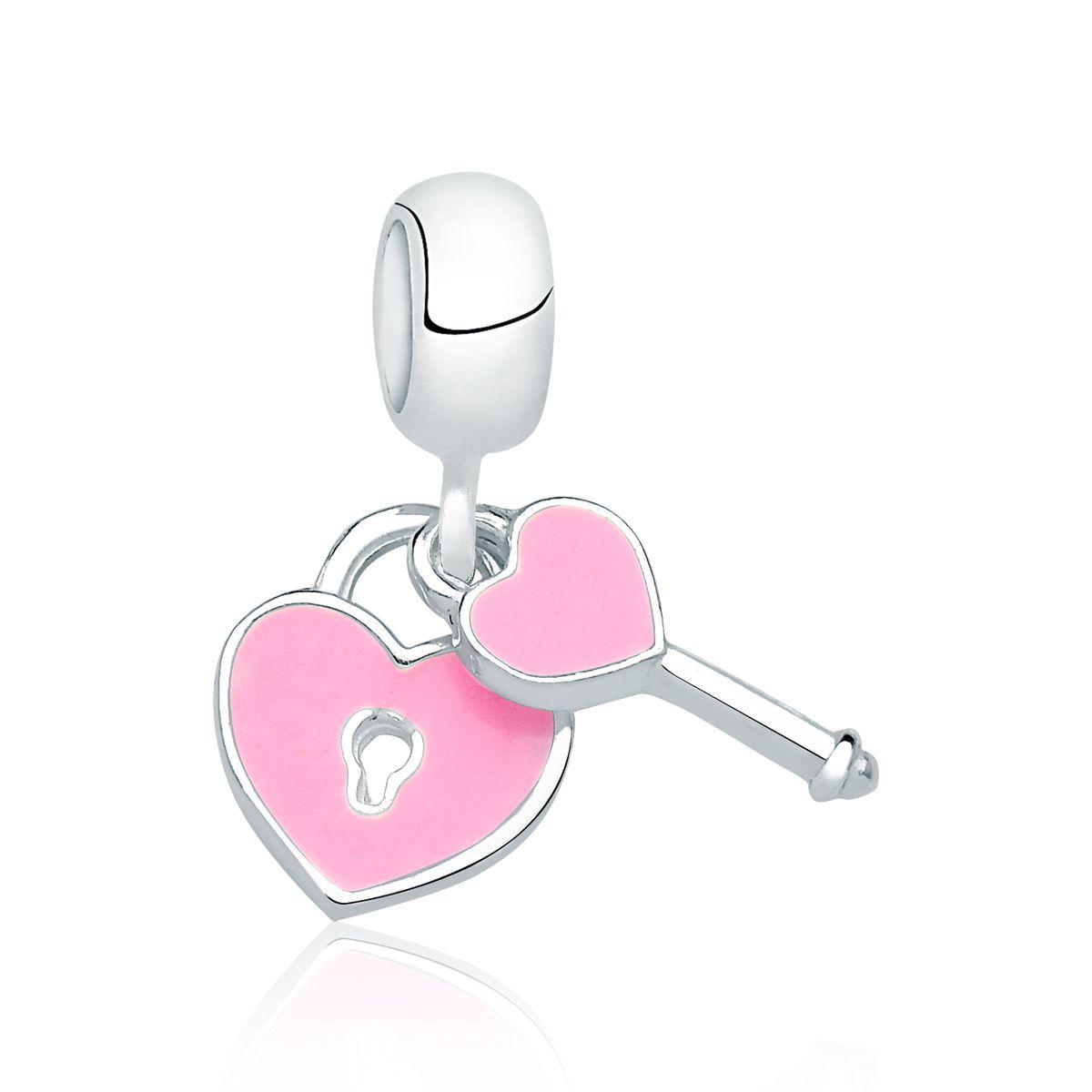Berloque Coração e Chave Rosa