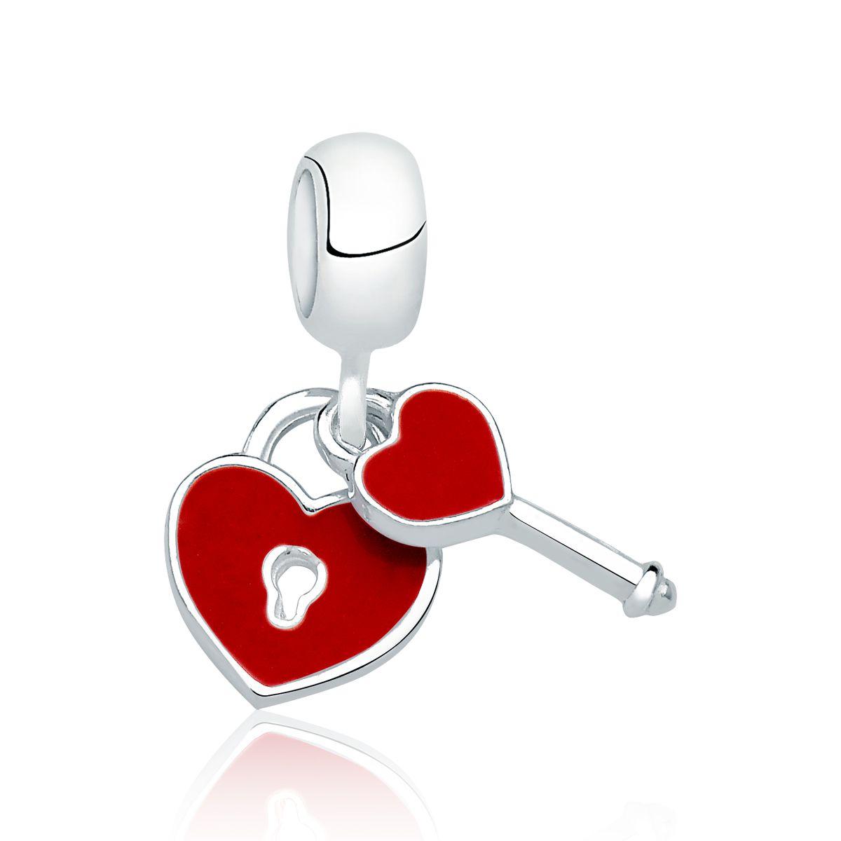 Berloque Coração e Chave Vermelho