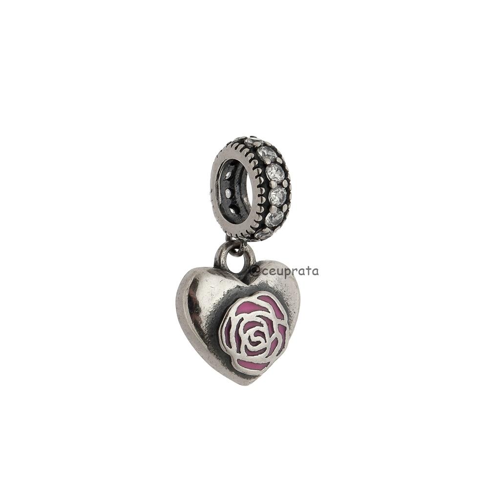 Berloque Coração Flor Rosa