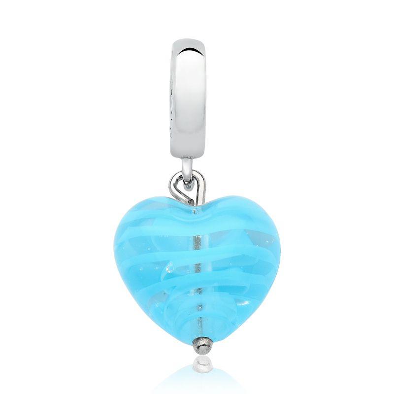 Berloque Coração Listrado Azul