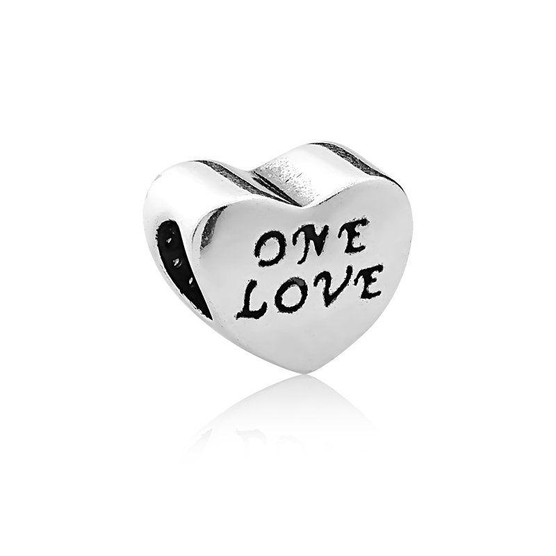 Berloque Coração One Love Com Zircônia Rosa