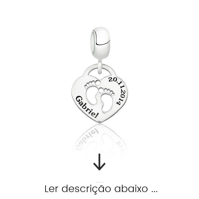 Berloque Coração Pezinhos Personalizado (Ler Descrição)