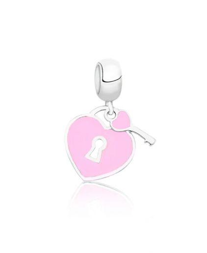 Berloque Coração Rosa com Chave