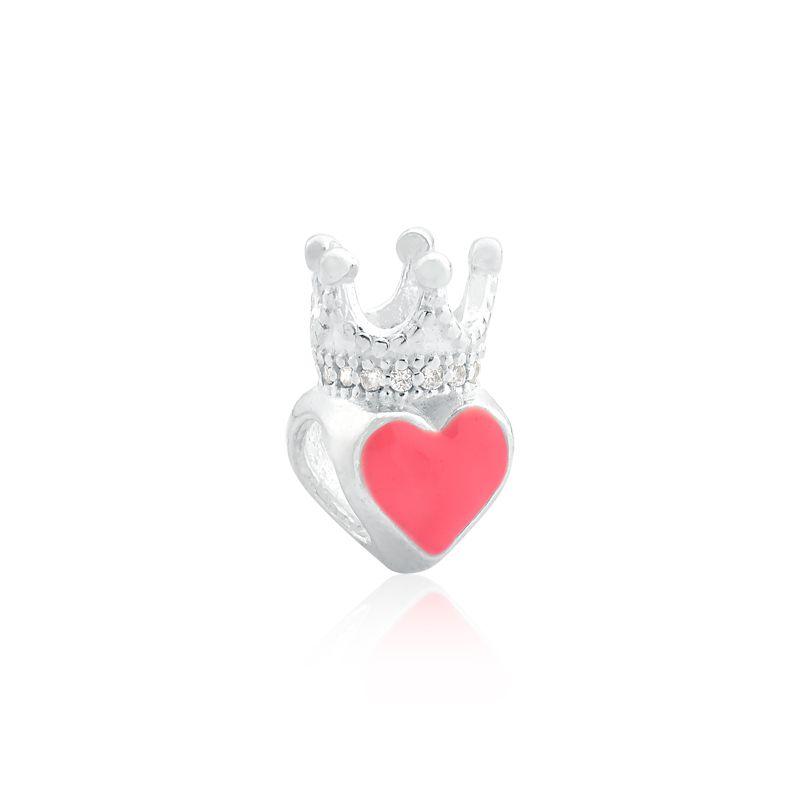 Berloque Coração Rosa Com Coroa