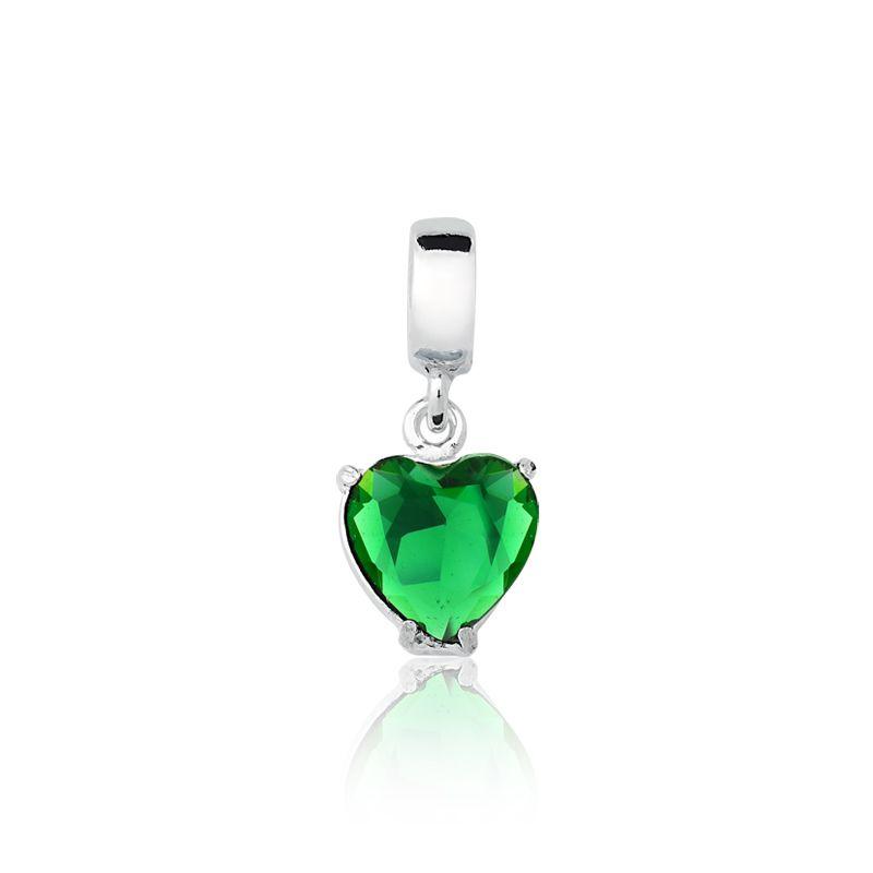 Berloque Coração Verde 8 MM