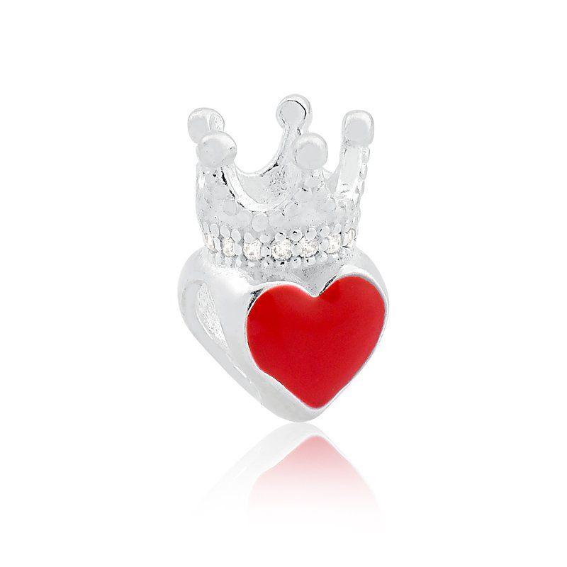 Berloque Coração Vermelho Com Coroa