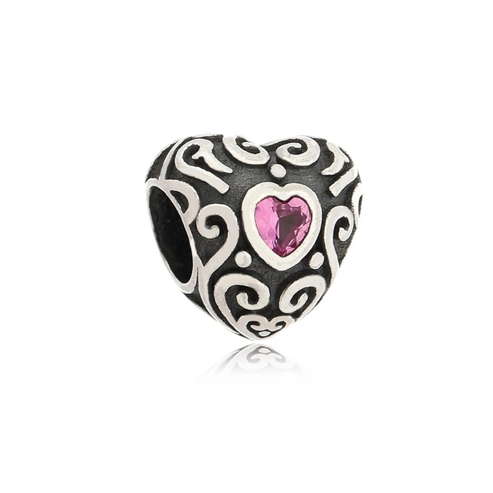 Berloque Coração Zircônia Rosa