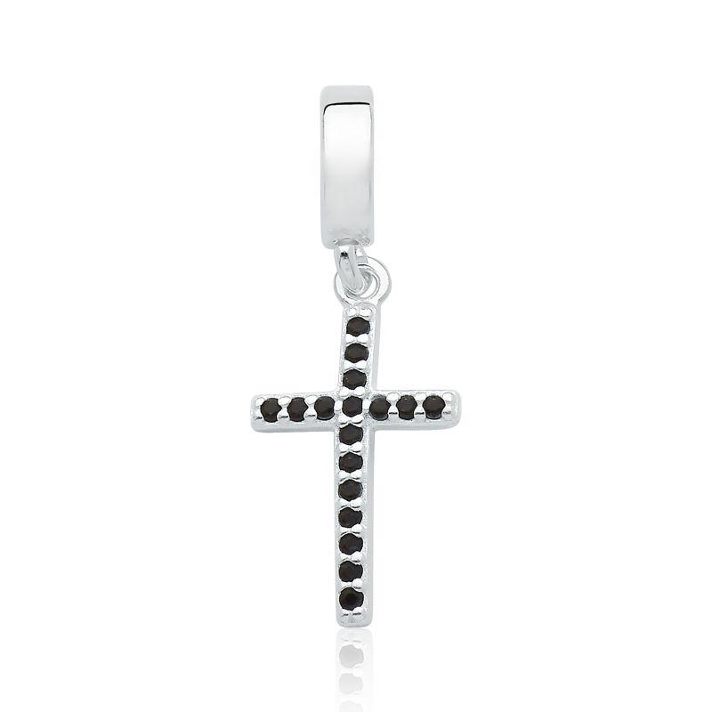 Berloque Cruz Zircônias Preto