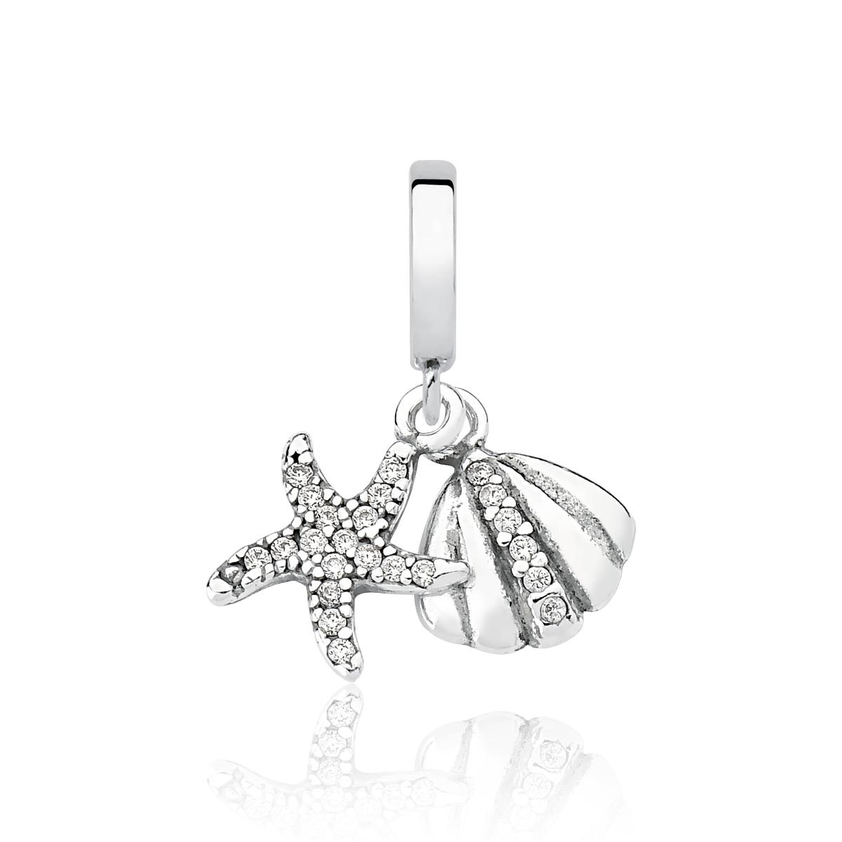 Berloque Estrela e Concha do Mar Brilhante