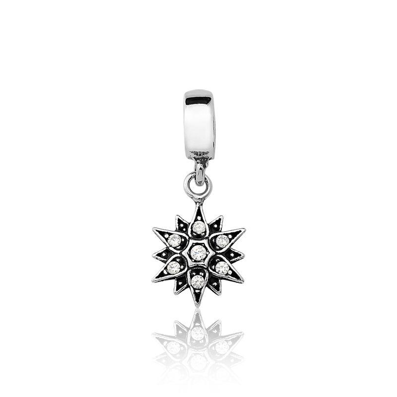 Berloque Estrela Flor Com 7 Zircônias